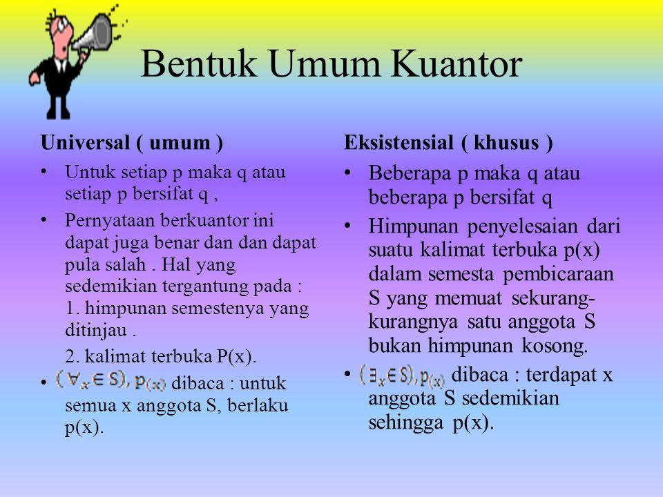 Bentuk Umum Kuantor Universal ( umum ) Untuk setiap p maka q atau setiap p bersifat q, Pernyataan berkuantor ini dapat juga benar dan dan dapat pula s