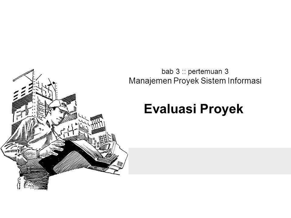 bab 3 :: pertemuan 3 Manajemen Proyek Sistem Informasi Evaluasi Proyek