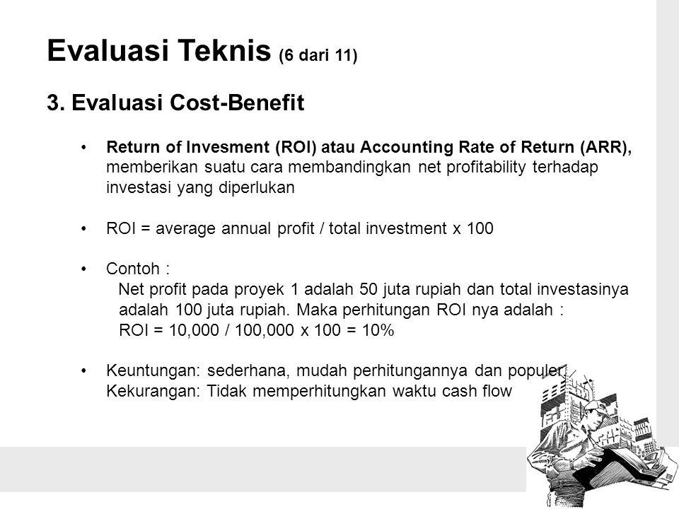 Evaluasi Teknis (6 dari 11) 3. Evaluasi Cost-Benefit Return of Invesment (ROI) atau Accounting Rate of Return (ARR), memberikan suatu cara membandingk