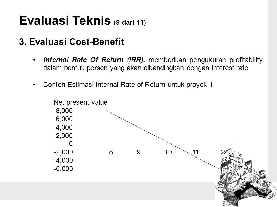 Evaluasi Teknis (9 dari 11) 3. Evaluasi Cost-Benefit Internal Rate Of Return (IRR), memberikan pengukuran profitability dalam bentuk persen yang akan