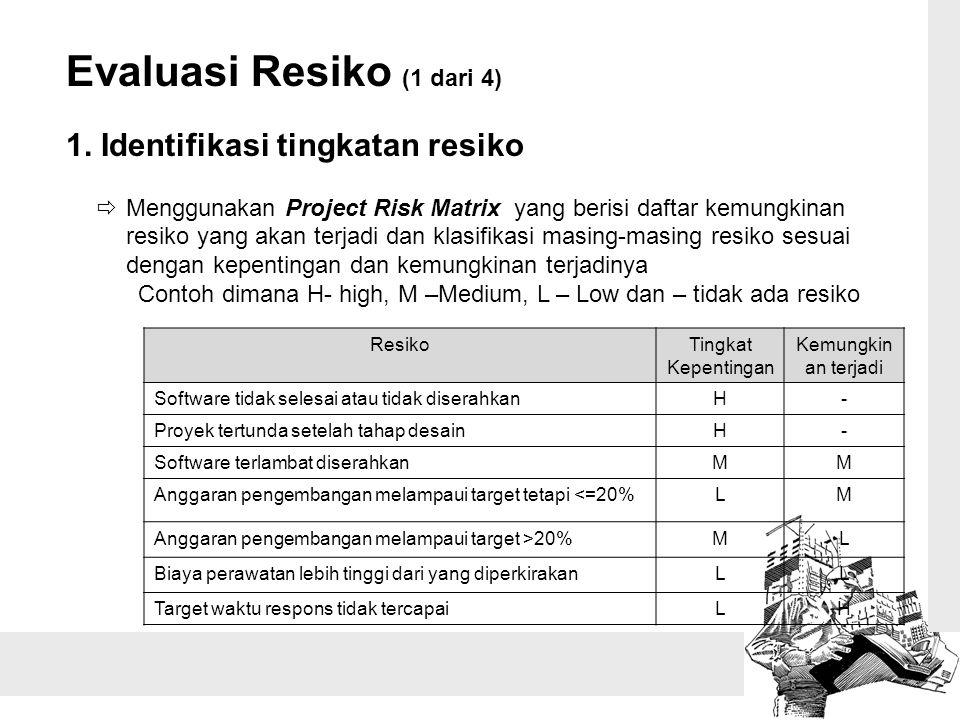 Evaluasi Resiko (1 dari 4) 1. Identifikasi tingkatan resiko  Menggunakan Project Risk Matrix yang berisi daftar kemungkinan resiko yang akan terjadi