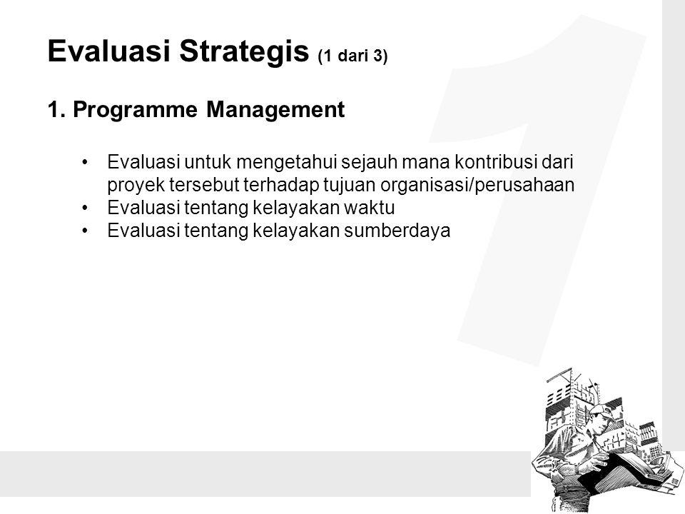 Evaluasi Strategis (1 dari 3) 1.Programme Management Evaluasi untuk mengetahui sejauh mana kontribusi dari proyek tersebut terhadap tujuan organisasi/perusahaan Evaluasi tentang kelayakan waktu Evaluasi tentang kelayakan sumberdaya