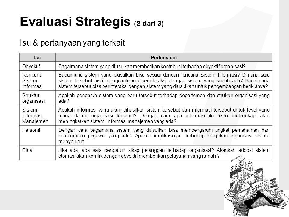 Evaluasi Strategis (2 dari 3) Isu & pertanyaan yang terkait IsuPertanyaan ObyektifBagaimana sistem yang diusulkan memberikan kontribusi terhadap obyek