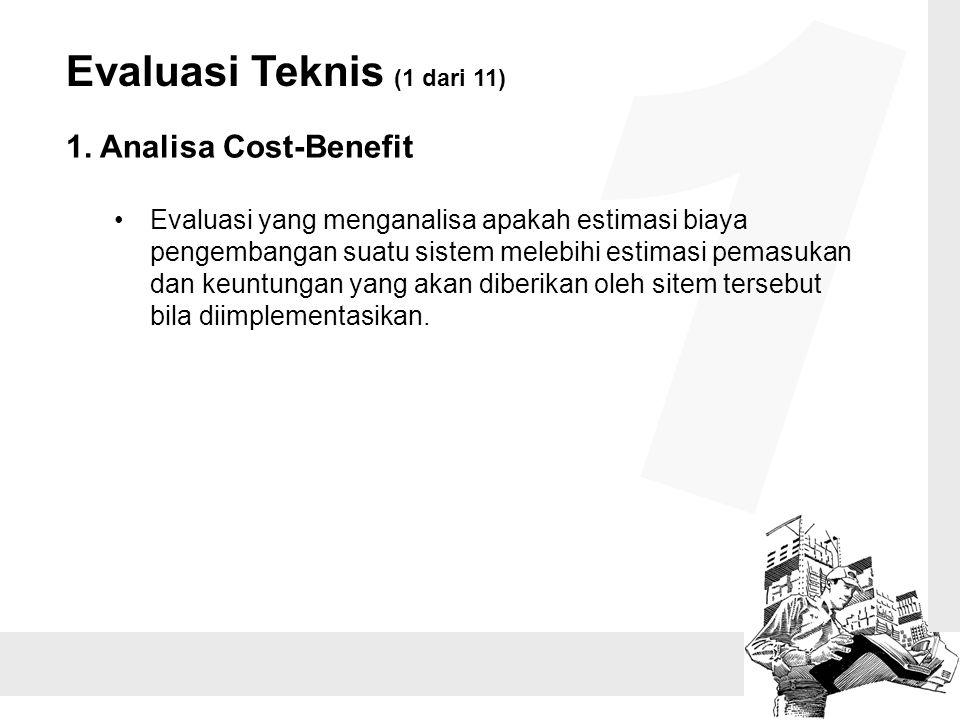 Evaluasi Teknis (1 dari 11) 1. Analisa Cost-Benefit Evaluasi yang menganalisa apakah estimasi biaya pengembangan suatu sistem melebihi estimasi pemasu