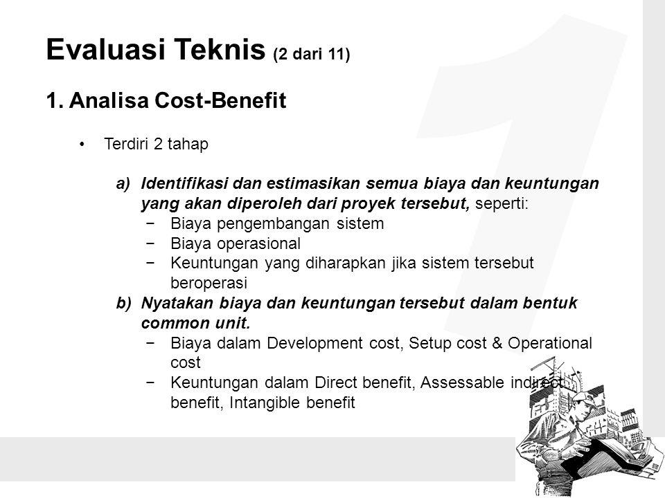 Evaluasi Teknis (2 dari 11) 1. Analisa Cost-Benefit Terdiri 2 tahap a)Identifikasi dan estimasikan semua biaya dan keuntungan yang akan diperoleh dari