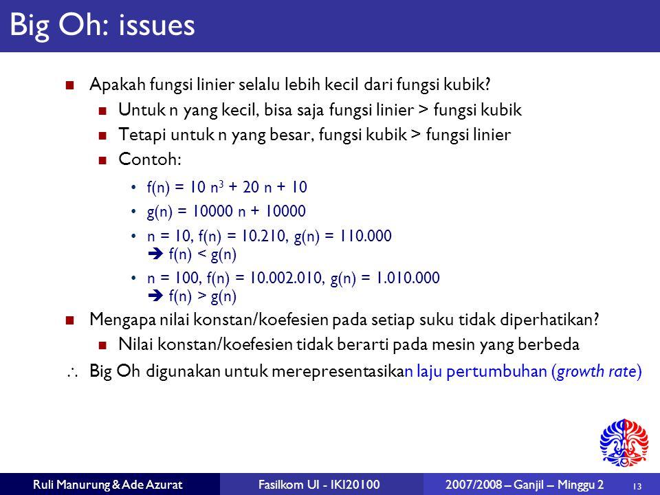 13 Ruli Manurung & Ade AzuratFasilkom UI - IKI20100 2007/2008 – Ganjil – Minggu 2 Big Oh: issues Apakah fungsi linier selalu lebih kecil dari fungsi k