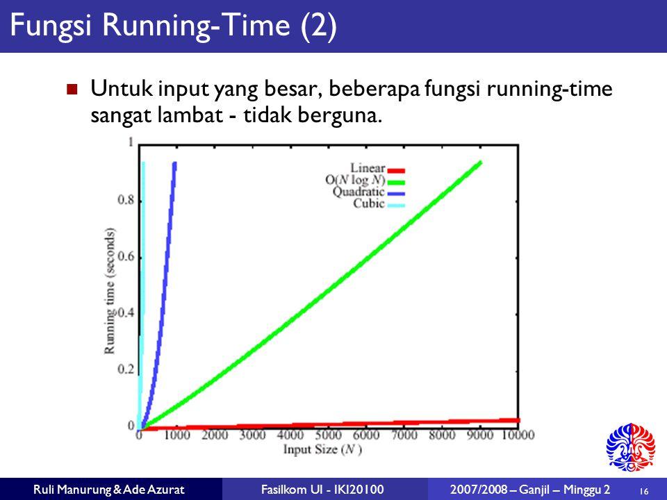 16 Ruli Manurung & Ade AzuratFasilkom UI - IKI20100 2007/2008 – Ganjil – Minggu 2 Fungsi Running-Time (2) Untuk input yang besar, beberapa fungsi runn