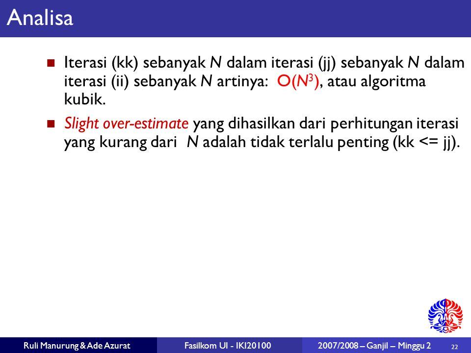22 Ruli Manurung & Ade AzuratFasilkom UI - IKI20100 2007/2008 – Ganjil – Minggu 2 Analisa Iterasi (kk) sebanyak N dalam iterasi (jj) sebanyak N dalam
