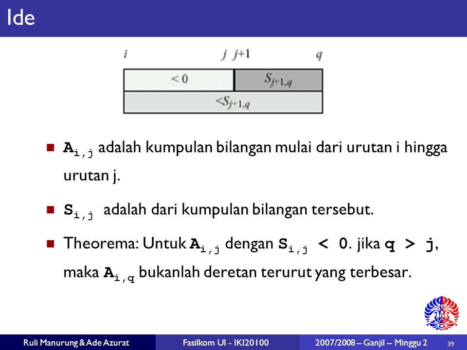 39 Ruli Manurung & Ade AzuratFasilkom UI - IKI20100 2007/2008 – Ganjil – Minggu 2 Ide A i,j adalah kumpulan bilangan mulai dari urutan i hingga urutan