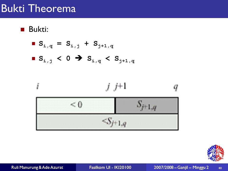 40 Ruli Manurung & Ade AzuratFasilkom UI - IKI20100 2007/2008 – Ganjil – Minggu 2 Bukti Theorema Bukti: S i,q = S i,j + S j+1,q S i,j < 0  S i,q < S