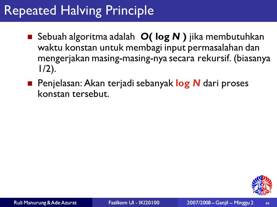 49 Ruli Manurung & Ade AzuratFasilkom UI - IKI20100 2007/2008 – Ganjil – Minggu 2 Repeated Halving Principle Sebuah algoritma adalah O( log N ) jika m