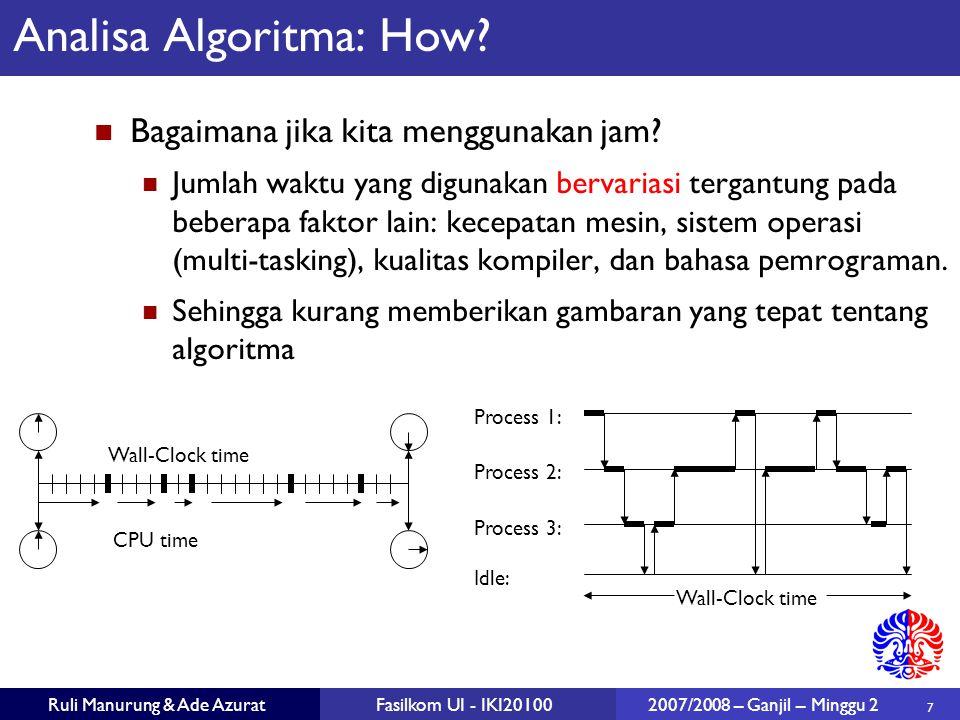 7 Ruli Manurung & Ade AzuratFasilkom UI - IKI20100 2007/2008 – Ganjil – Minggu 2 Analisa Algoritma: How? Bagaimana jika kita menggunakan jam? Jumlah w