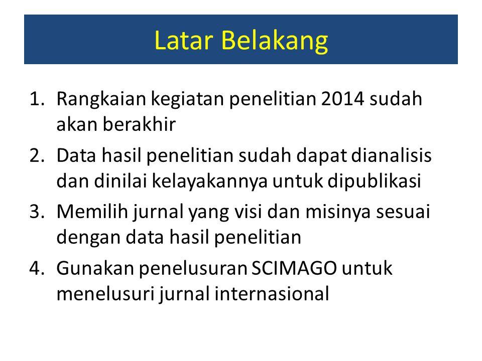 Latar Belakang 1.Rangkaian kegiatan penelitian 2014 sudah akan berakhir 2.Data hasil penelitian sudah dapat dianalisis dan dinilai kelayakannya untuk