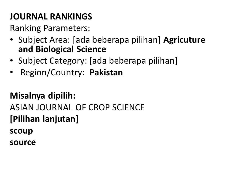 JOURNAL RANKINGS Ranking Parameters: Subject Area: [ada beberapa pilihan] Agricuture and Biological Science Subject Category: [ada beberapa pilihan] R