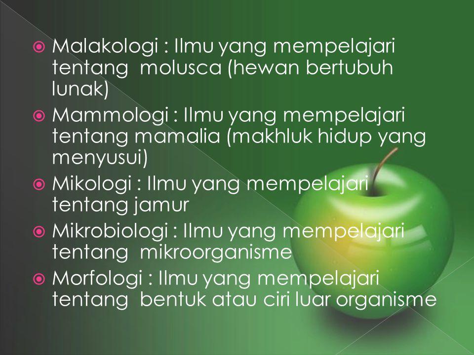  Malakologi : Ilmu yang mempelajari tentang molusca (hewan bertubuh lunak)  Mammologi : Ilmu yang mempelajari tentang mamalia (makhluk hidup yang me