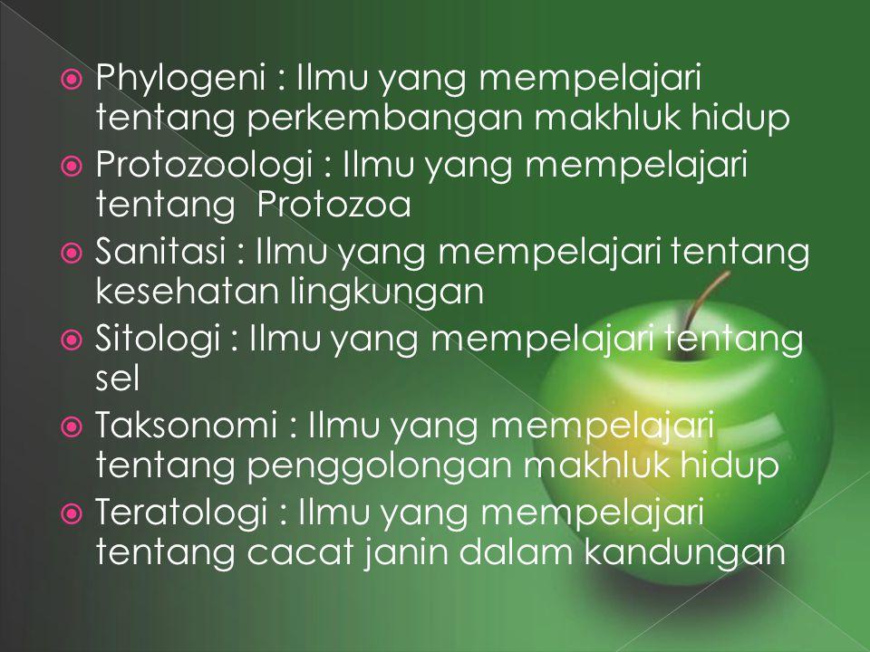  Phylogeni : Ilmu yang mempelajari tentang perkembangan makhluk hidup  Protozoologi : Ilmu yang mempelajari tentang Protozoa  Sanitasi : Ilmu yang