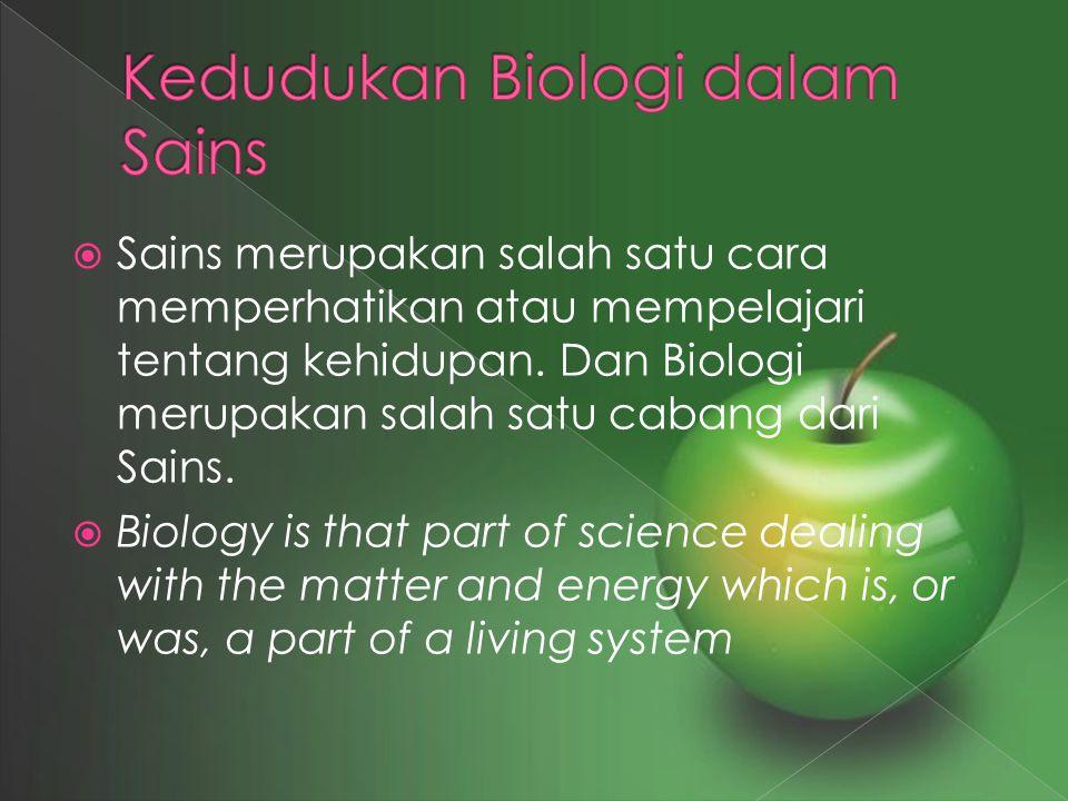  Sains merupakan salah satu cara memperhatikan atau mempelajari tentang kehidupan. Dan Biologi merupakan salah satu cabang dari Sains.  Biology is t