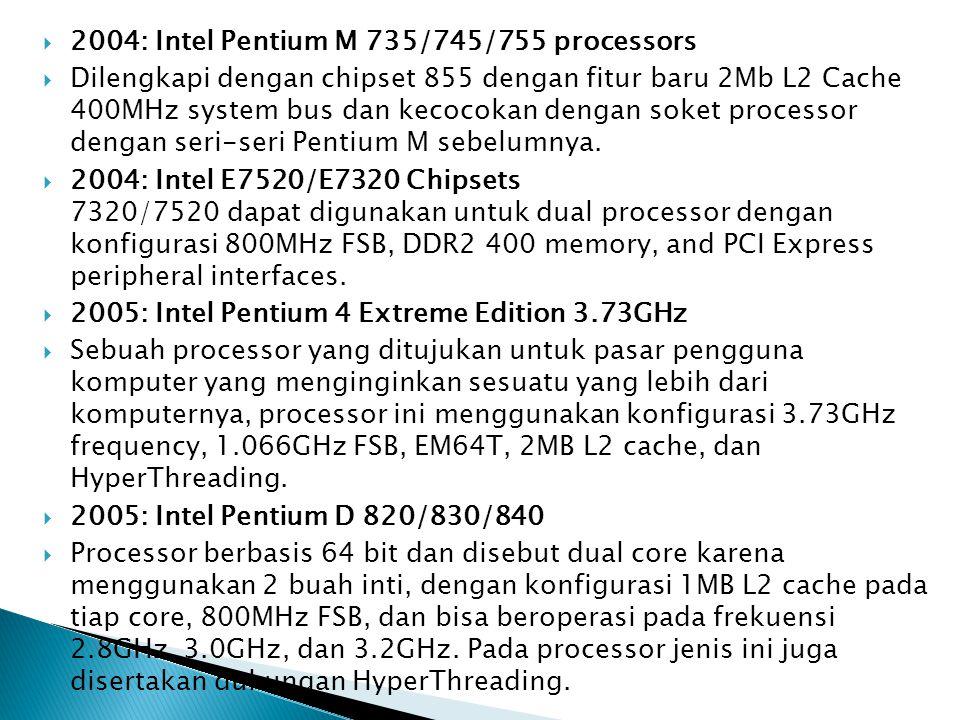  2006: Intel Core 2 Quad Q6600  Processor untuk type desktop dan digunakan pada orang yang ingin kekuatan lebih dari komputer yang ia miliki memiliki 2 buah core dengan konfigurasi 2.4GHz dengan 8MB L2 cache (sampai dengan 4MB yang dapat diakses tiap core ), 1.06GHz Front-side bus, dan thermal design power ( TDP )  2006: Intel Quad-core Xeon X3210/X3220  Processor yang digunakan untuk tipe server dan memiliki 2 buah core dengan masing-masing memiliki konfigurasi 2.13 dan 2.4GHz, berturut-turut, dengan 8MB L2 cache ( dapat mencapai 4MB yang diakses untuk tiap core ), 1.06GHz Front-side bus, dan thermal design power (TDP)