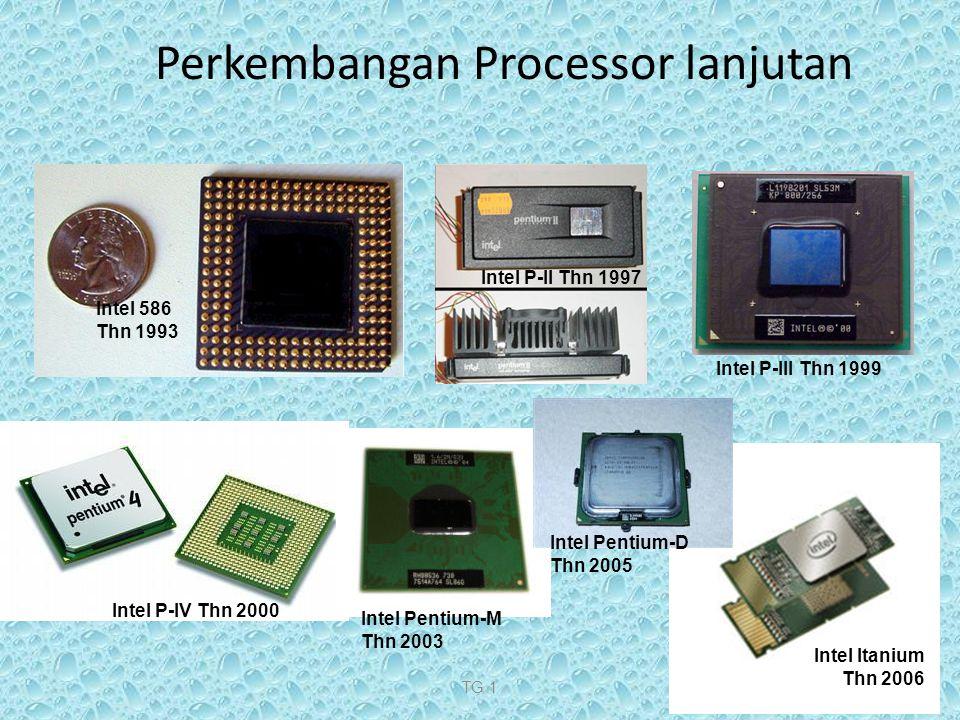 TG 110 Perkembangan Processor lanjutan Intel 586 Thn 1993 Intel P-II Thn 1997 Intel P-IV Thn 2000 Intel P-III Thn 1999 Intel Pentium-M Thn 2003 Intel