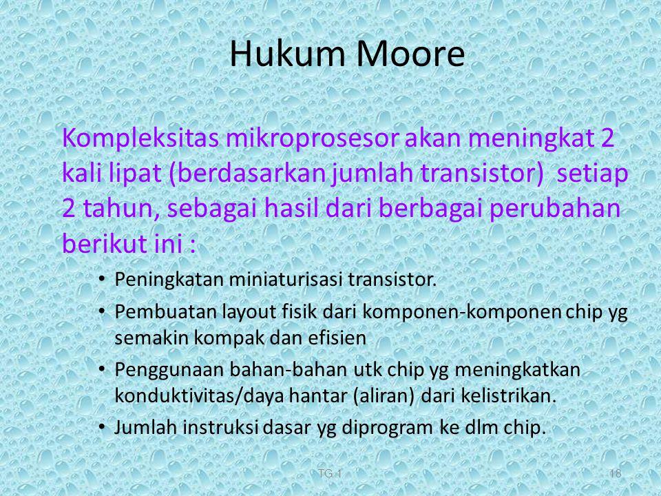 TG 118 Hukum Moore Kompleksitas mikroprosesor akan meningkat 2 kali lipat (berdasarkan jumlah transistor) setiap 2 tahun, sebagai hasil dari berbagai