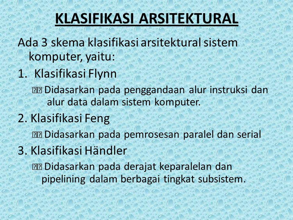 KLASIFIKASI ARSITEKTURAL Ada 3 skema klasifikasi arsitektural sistem komputer, yaitu: 1.Klasifikasi Flynn Didasarkan pada penggandaan alur instruksi d
