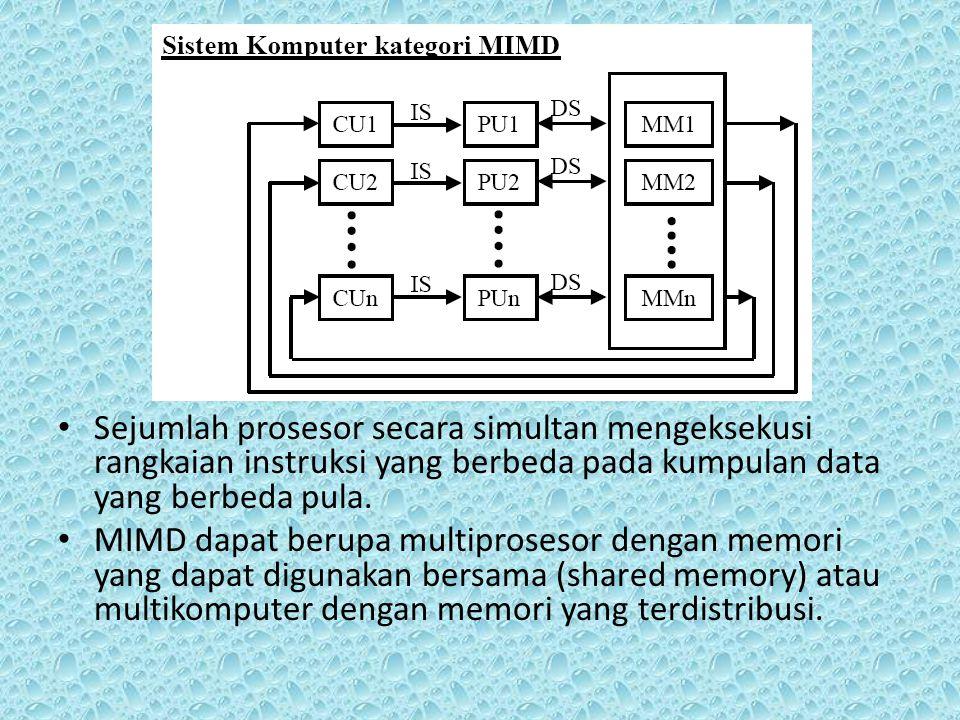Sejumlah prosesor secara simultan mengeksekusi rangkaian instruksi yang berbeda pada kumpulan data yang berbeda pula. MIMD dapat berupa multiprosesor