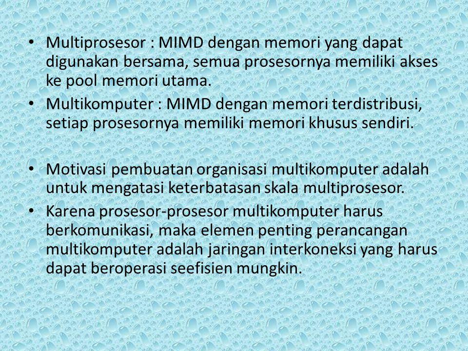 Multiprosesor : MIMD dengan memori yang dapat digunakan bersama, semua prosesornya memiliki akses ke pool memori utama. Multikomputer : MIMD dengan me