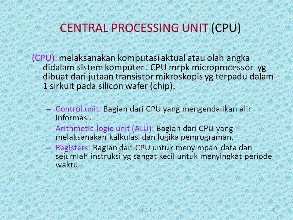 TG 18 (CPU): melaksanakan komputasi aktual atau olah angka didalam sistem komputer. CPU mrpk microprocessor yg dibuat dari jutaan transistor mikroskop