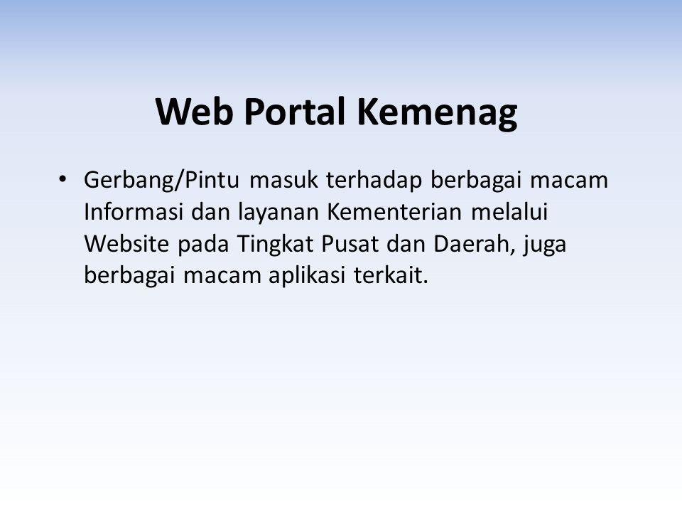 Web Portal Kemenag Gerbang/Pintu masuk terhadap berbagai macam Informasi dan layanan Kementerian melalui Website pada Tingkat Pusat dan Daerah, juga b