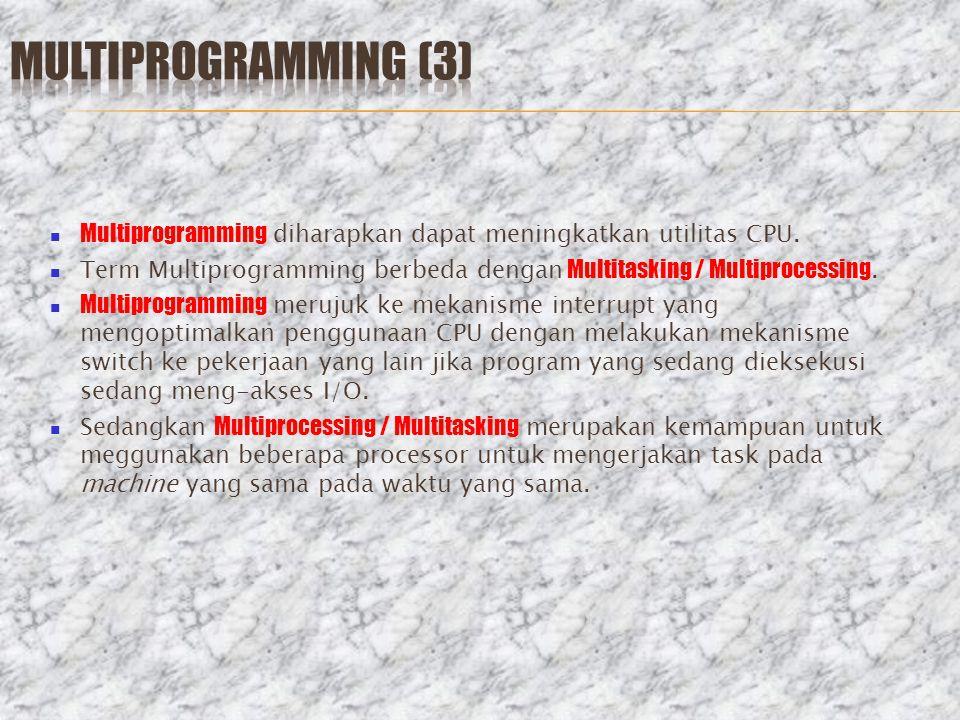 Multiprogramming diharapkan dapat meningkatkan utilitas CPU. Term Multiprogramming berbeda dengan Multitasking / Multiprocessing. Multiprogramming mer