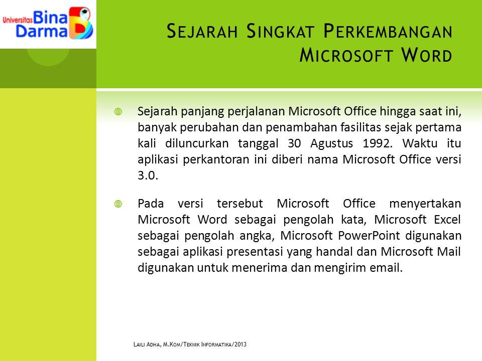 S EJARAH S INGKAT P ERKEMBANGAN M ICROSOFT W ORD  Sejarah panjang perjalanan Microsoft Office hingga saat ini, banyak perubahan dan penambahan fasilitas sejak pertama kali diluncurkan tanggal 30 Agustus 1992.