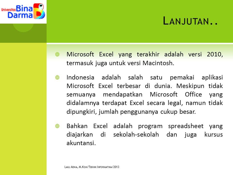 L ANJUTAN..  Microsoft Excel yang terakhir adalah versi 2010, termasuk juga untuk versi Macintosh.