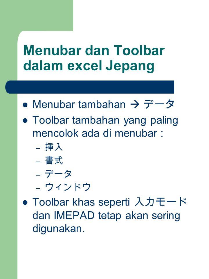 Menubar dan Toolbar dalam excel Jepang Menubar tambahan  データ Toolbar tambahan yang paling mencolok ada di menubar : – 挿入 – 書式 – データ – ウィンドウ Toolbar khas seperti 入力モード dan IMEPAD tetap akan sering digunakan.