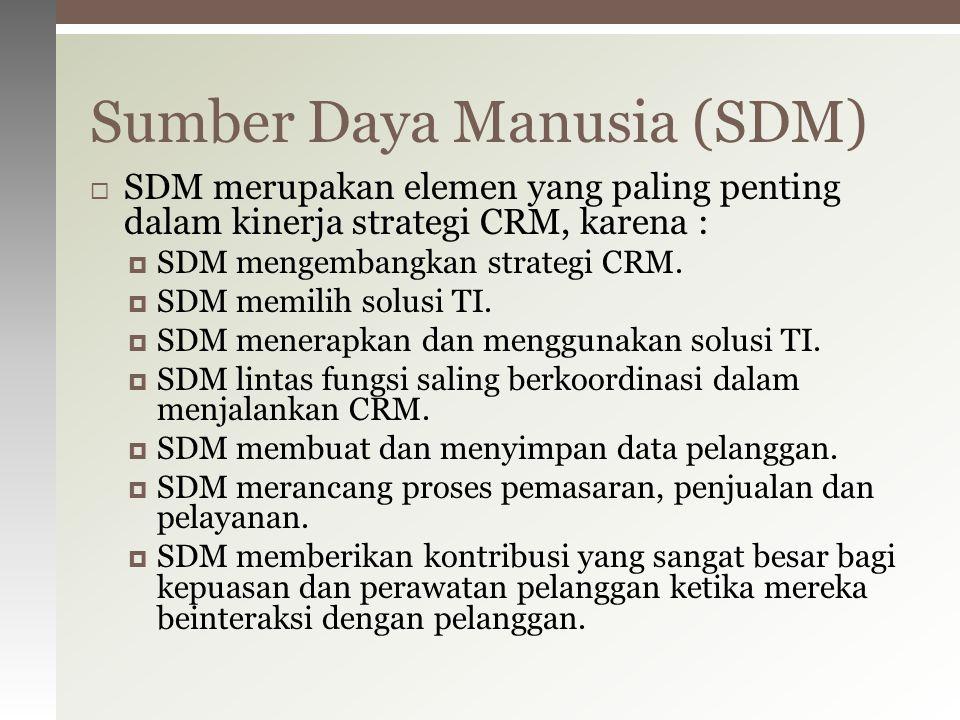  SDM merupakan elemen yang paling penting dalam kinerja strategi CRM, karena :  SDM mengembangkan strategi CRM.  SDM memilih solusi TI.  SDM mener