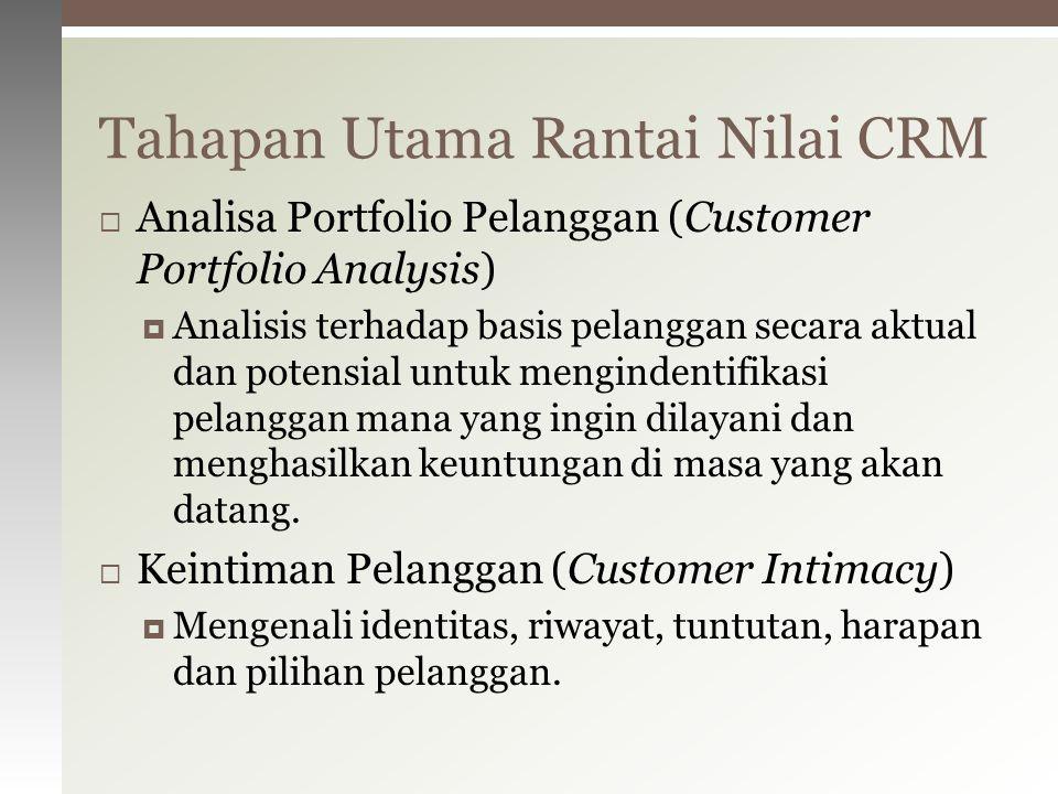  Analisa Portfolio Pelanggan (Customer Portfolio Analysis)  Analisis terhadap basis pelanggan secara aktual dan potensial untuk mengindentifikasi pe