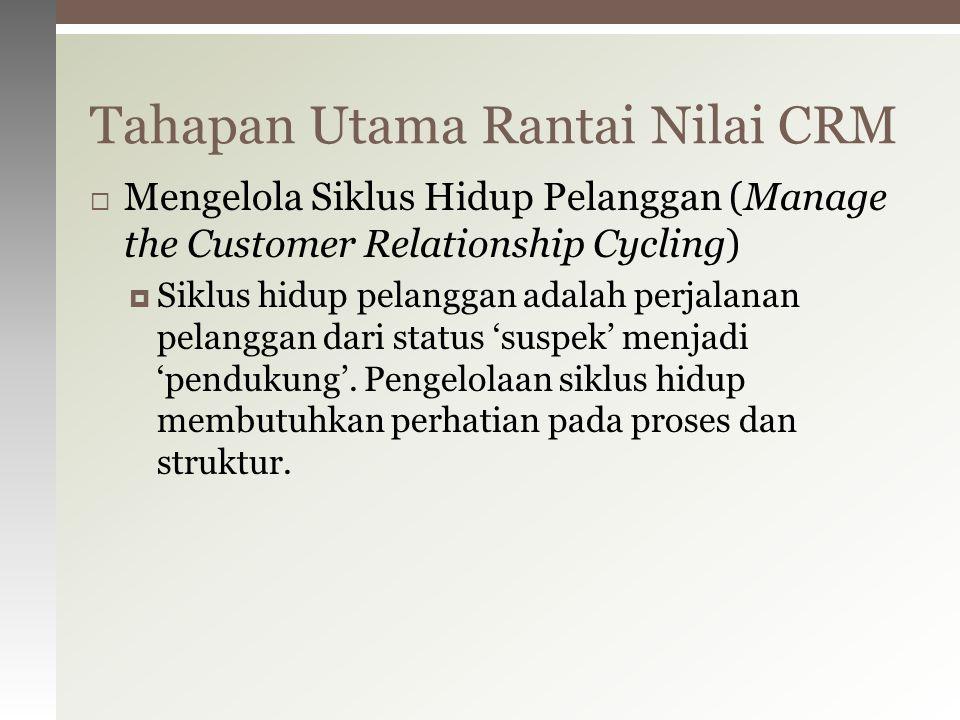  Mengelola Siklus Hidup Pelanggan (Manage the Customer Relationship Cycling)  Siklus hidup pelanggan adalah perjalanan pelanggan dari status 'suspek