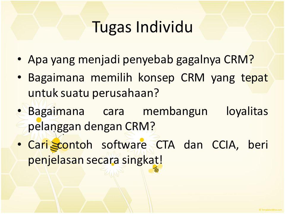 Tugas Individu Apa yang menjadi penyebab gagalnya CRM? Bagaimana memilih konsep CRM yang tepat untuk suatu perusahaan? Bagaimana cara membangun loyali