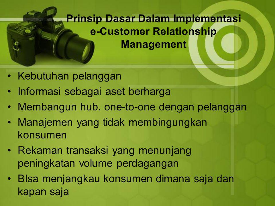 Prinsip Dasar Dalam Implementasi e-Customer Relationship Management Kebutuhan pelanggan Informasi sebagai aset berharga Membangun hub.