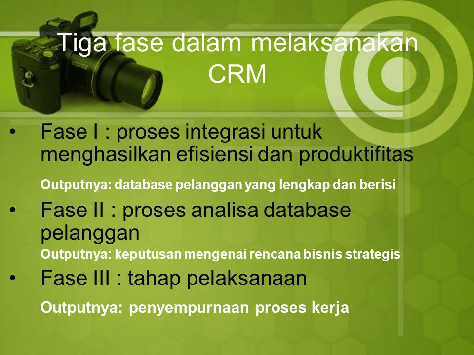 Tiga fase dalam melaksanakan CRM Fase I : proses integrasi untuk menghasilkan efisiensi dan produktifitas Outputnya: database pelanggan yang lengkap dan berisi Fase II : proses analisa database pelanggan Outputnya: keputusan mengenai rencana bisnis strategis Fase III : tahap pelaksanaan Outputnya: penyempurnaan proses kerja
