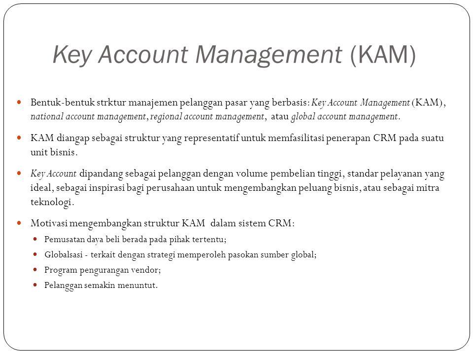 Key Account Management (KAM) Bentuk-bentuk strktur manajemen pelanggan pasar yang berbasis: Key Account Management (KAM), national account management, regional account management, atau global account management.