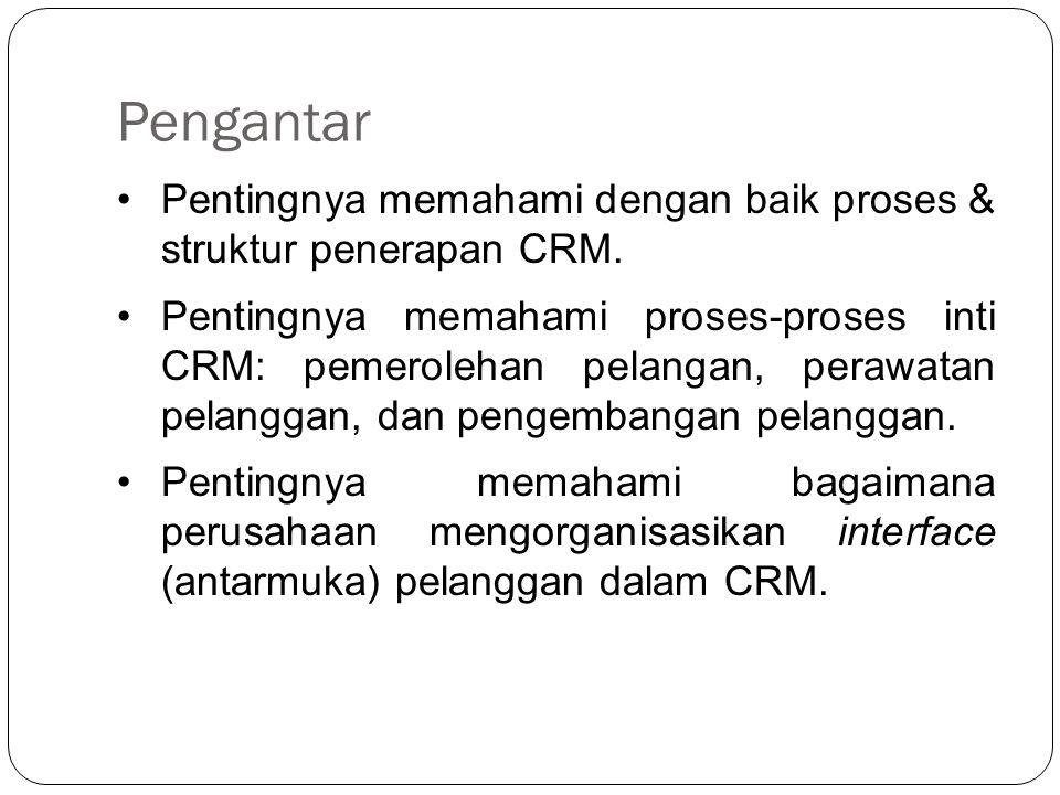 Pengantar Pentingnya memahami dengan baik proses & struktur penerapan CRM.