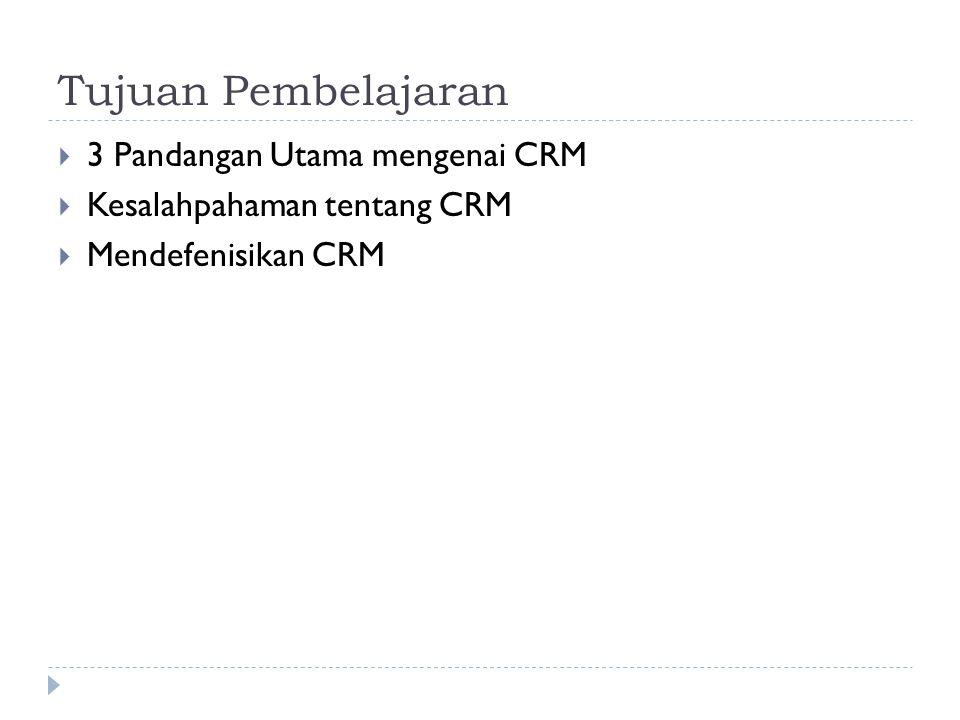 Tujuan Pembelajaran  3 Pandangan Utama mengenai CRM  Kesalahpahaman tentang CRM  Mendefenisikan CRM