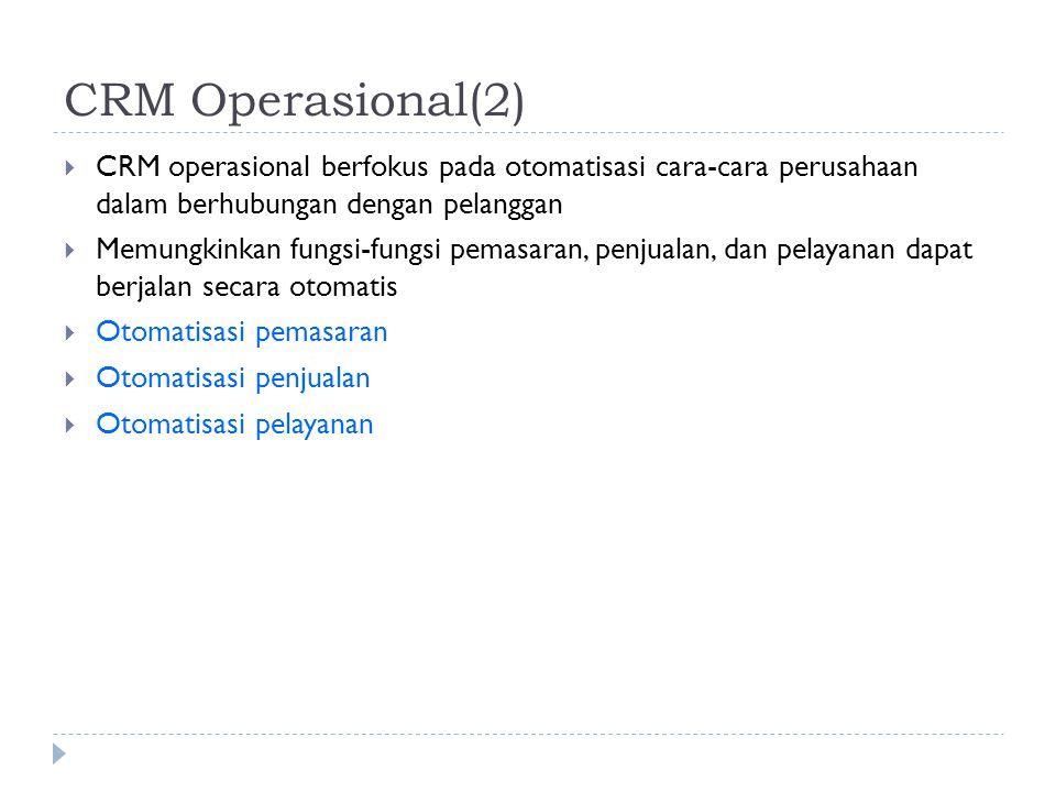 CRM Operasional(2)  CRM operasional berfokus pada otomatisasi cara-cara perusahaan dalam berhubungan dengan pelanggan  Memungkinkan fungsi-fungsi pe