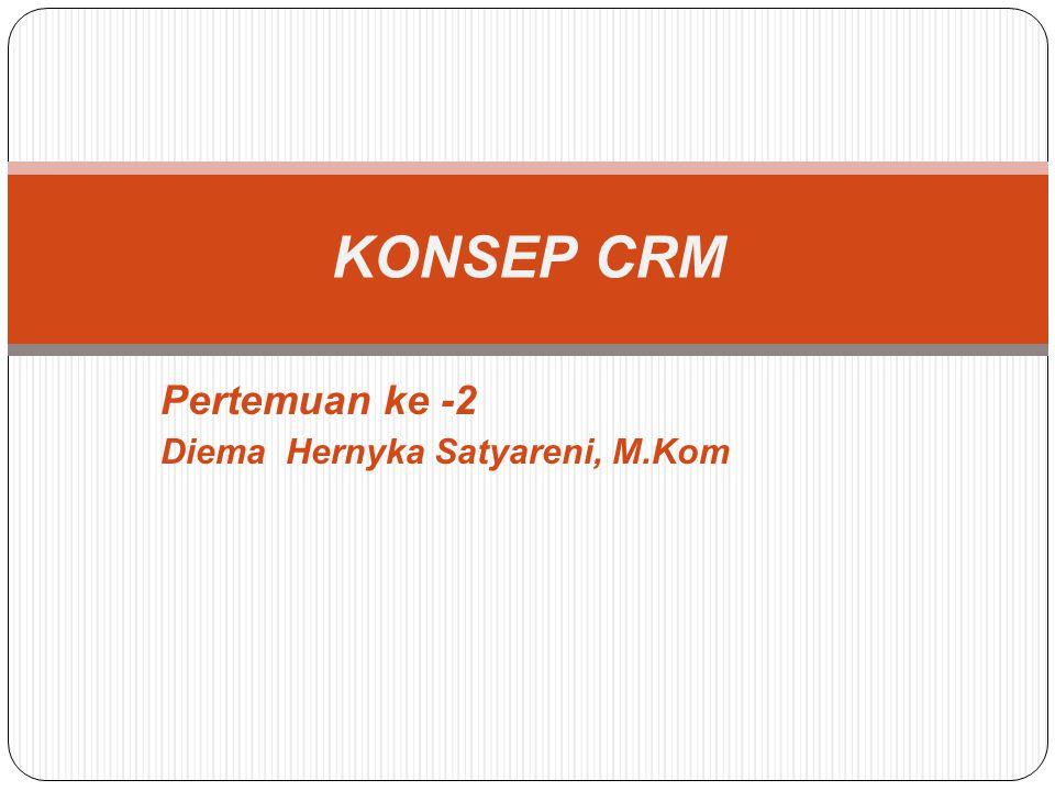 Pertemuan ke -2 Diema Hernyka Satyareni, M.Kom KONSEP CRM