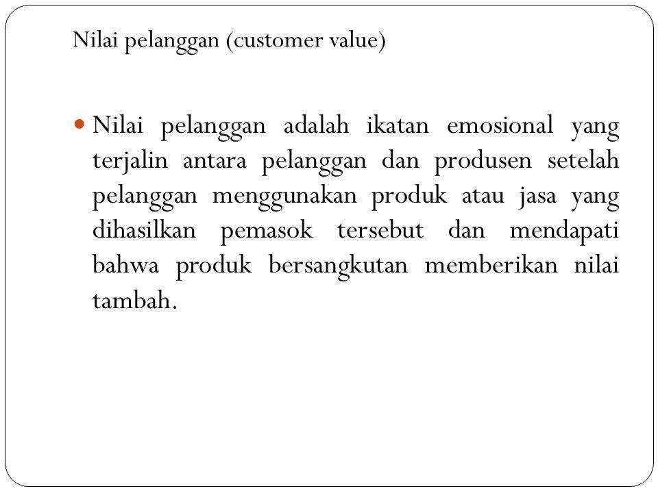 Nilai pelanggan (customer value) Nilai pelanggan adalah ikatan emosional yang terjalin antara pelanggan dan produsen setelah pelanggan menggunakan produk atau jasa yang dihasilkan pemasok tersebut dan mendapati bahwa produk bersangkutan memberikan nilai tambah.