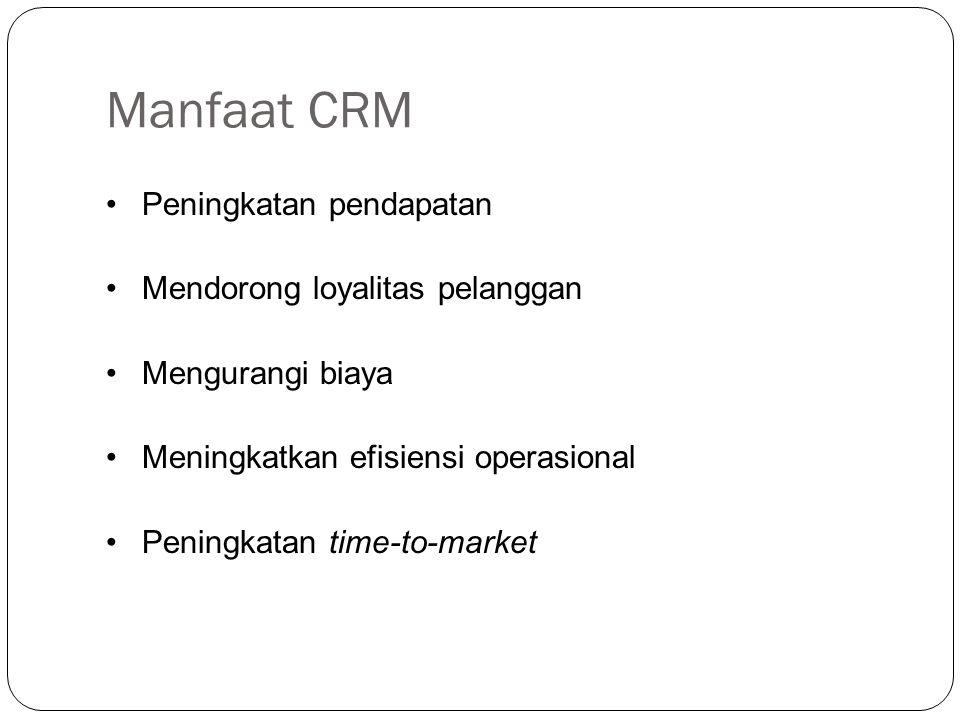 Manfaat CRM Peningkatan pendapatan Mendorong loyalitas pelanggan Mengurangi biaya Meningkatkan efisiensi operasional Peningkatan time-to-market