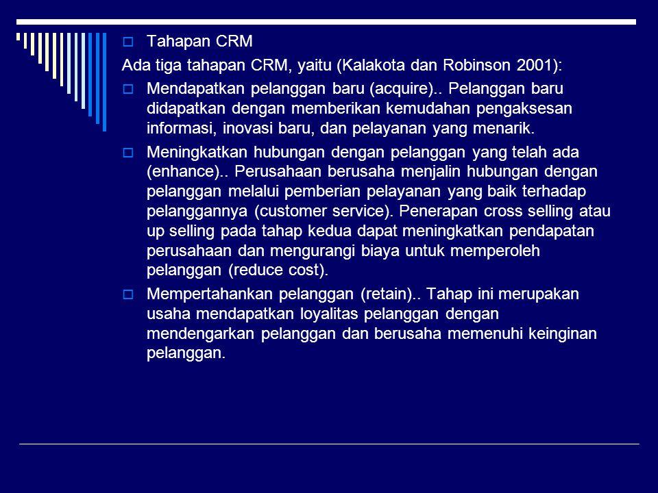  Tahapan CRM Ada tiga tahapan CRM, yaitu (Kalakota dan Robinson 2001):  Mendapatkan pelanggan baru (acquire).. Pelanggan baru didapatkan dengan memb