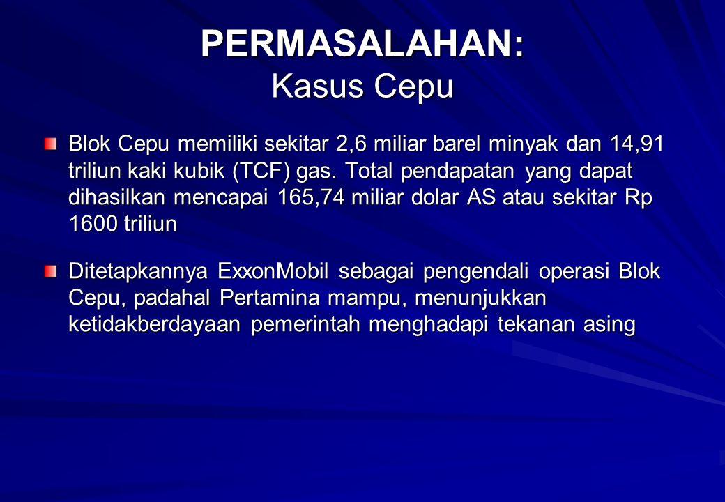 PERMASALAHAN: Kasus Cepu Blok Cepu memiliki sekitar 2,6 miliar barel minyak dan 14,91 triliun kaki kubik (TCF) gas.