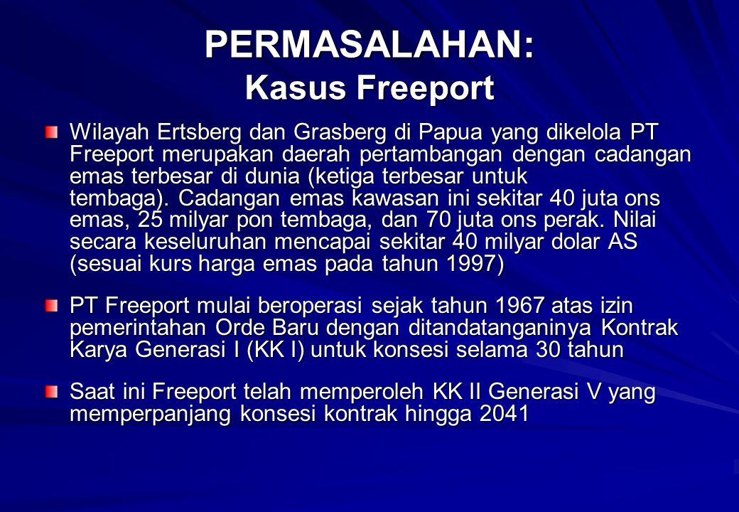 PERMASALAHAN: Kasus Freeport Wilayah Ertsberg dan Grasberg di Papua yang dikelola PT Freeport merupakan daerah pertambangan dengan cadangan emas terbesar di dunia (ketiga terbesar untuk tembaga).