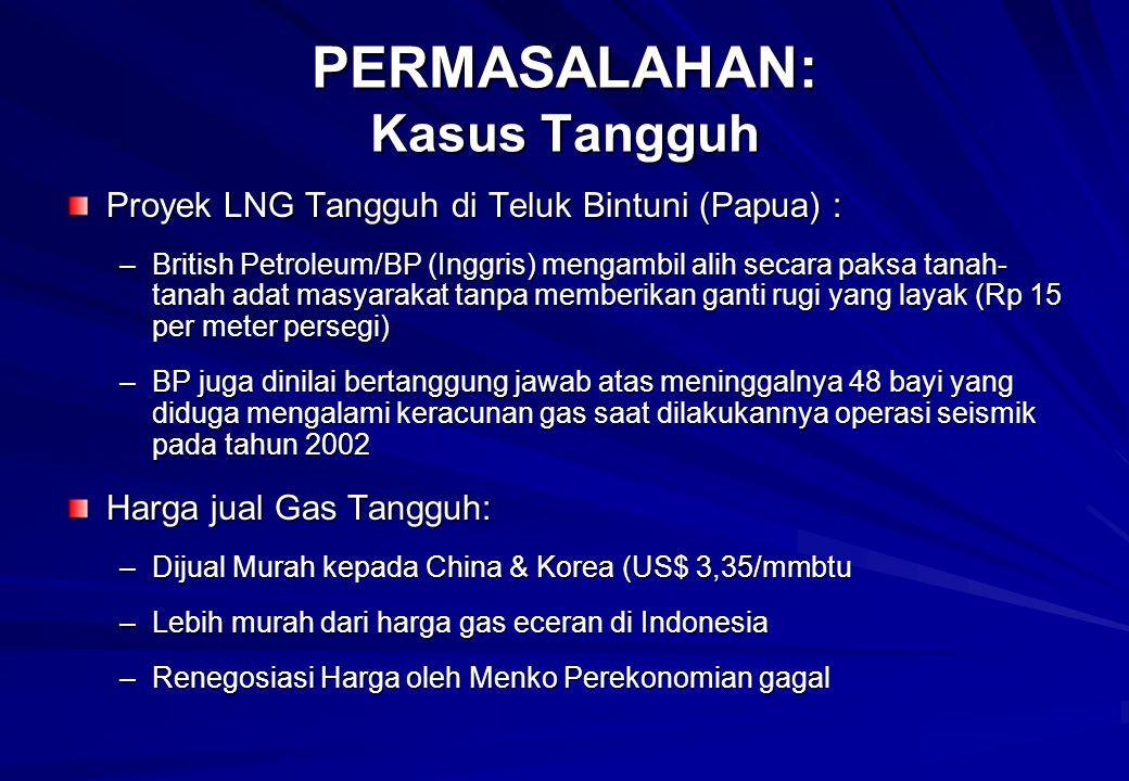 Proyek LNG Tangguh di Teluk Bintuni (Papua) : –British Petroleum/BP (Inggris) mengambil alih secara paksa tanah- tanah adat masyarakat tanpa memberikan ganti rugi yang layak (Rp 15 per meter persegi) –BP juga dinilai bertanggung jawab atas meninggalnya 48 bayi yang diduga mengalami keracunan gas saat dilakukannya operasi seismik pada tahun 2002 Harga jual Gas Tangguh: –Dijual Murah kepada China & Korea (US$ 3,35/mmbtu –Lebih murah dari harga gas eceran di Indonesia –Renegosiasi Harga oleh Menko Perekonomian gagal PERMASALAHAN: Kasus Tangguh